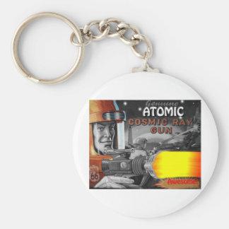 atomic space man black & white 1950s basic round button key ring