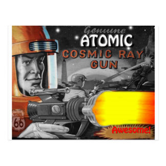 atomic space man black & white 1950s postcard
