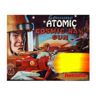 atomic space man ray gun postcard
