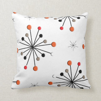 Atomic Sphere Star Burst Retro Patern Throw Pillow