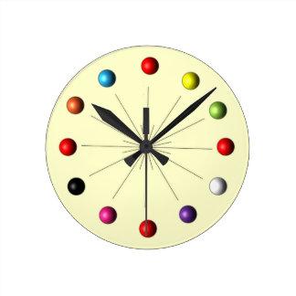 Atomic Sphere Star Burst Retro Style Decor Round Clock
