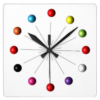 Atomic Sphere Star Burst Retro Style Decor Square Wall Clock