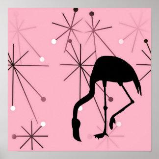 Atomic Starburst Retro Kitsch Flamingo