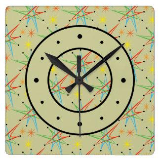 Atomic Starburst Retro Multicolored Pattern Clock