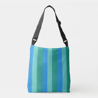 Atomic Teal and Turquoise Stripes Cross Body Bag