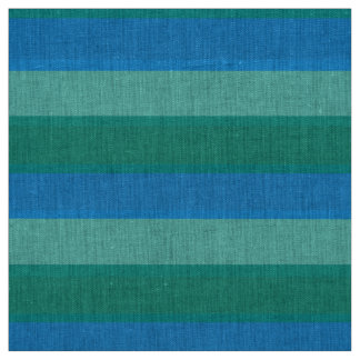 Atomic Teal and Turquoise Stripes Natural Linen Fabric
