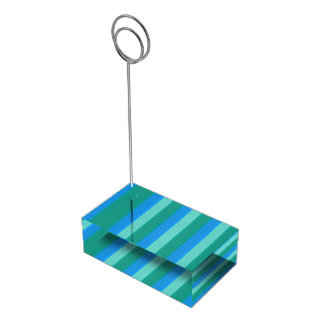 Atomic Teal & Turquoise Stripes Table Card Holder