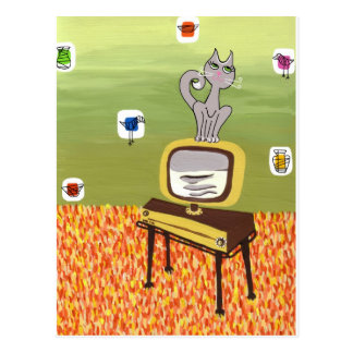 Atomic TV and Cool Cat Postcard