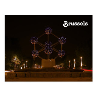 Atomium at night postcard