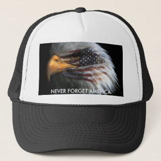ATT987427, NEVER FORGET AMERICA TRUCKER HAT