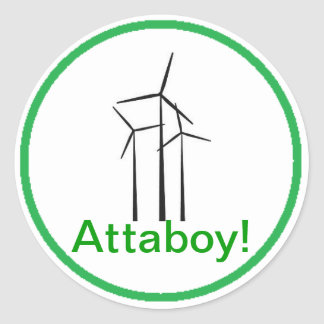 Atta Boy Wind Turbine Classic Round Sticker