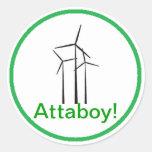 Atta Boy Wind Turbine Round Sticker
