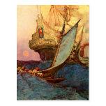 Attack on a Pirate's Galleon Postcard