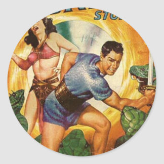 Attacked by Lizards on Mars Classic Round Sticker