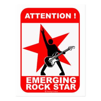 Attention emerging rock star postcard