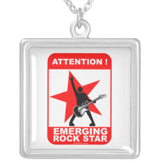 Attention! emerging rock star square pendant necklace