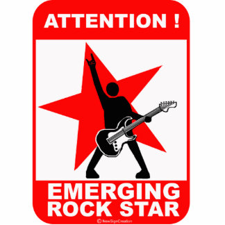 Attention! emerging rock star! standing photo sculpture