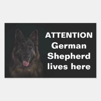 Attention german shepherd lives here rectangular sticker