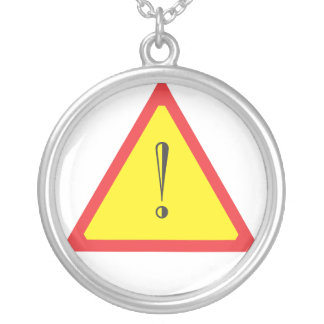 Attention Sign Round Pendant Necklace