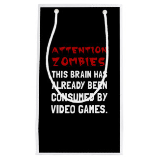 Attention Zombies Video Games Small Gift Bag