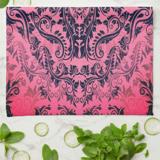 Attic-Find-Damask(c) 60's era_Funky-Rose Tea Towel