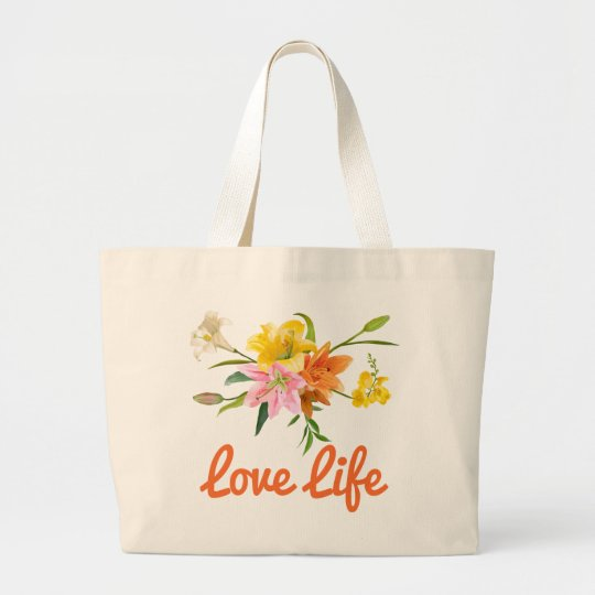 Attitude Floral Lily Flowers Pink, Orange, Yellow Large Tote Bag
