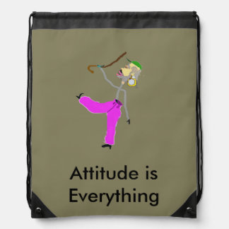 Attitude is Everything - Dancing with Cane Drawstring Bag