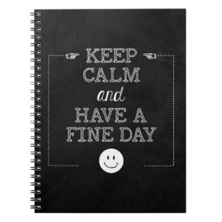 Attitude Keep Calm Inspirational Quote Chalkboard Notebook