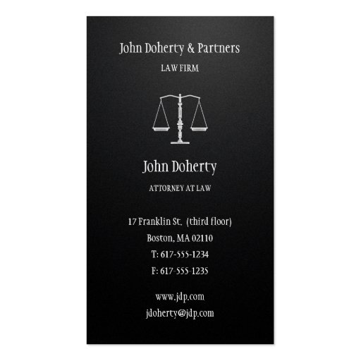 Attorney at Law - Black Business Card