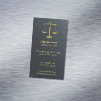 Attorney at Law   Classic Golden Scales of Justice Magnetic Business Card