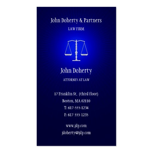 Attorney at Law - Dark Blue Business Card