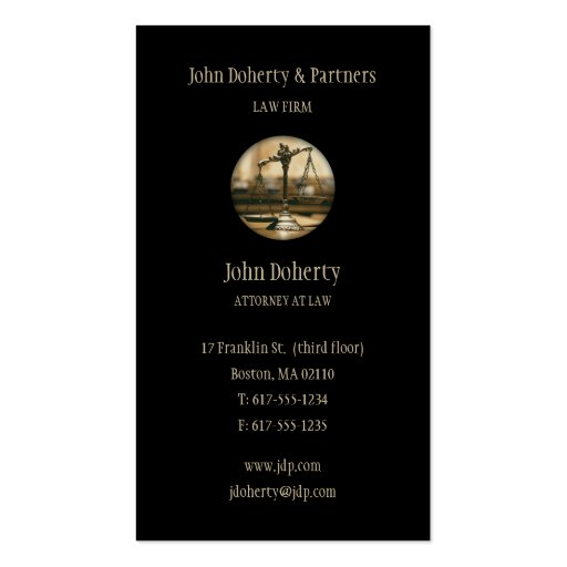 Attorney at Law - Elegant Black Business Card