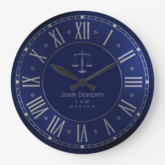 ATTORNEY AT LAW | Elegant Blue Large Clock