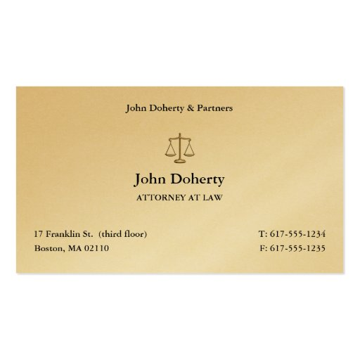 Attorney at Law | Elegant Lawyer Business Card Business Card Template