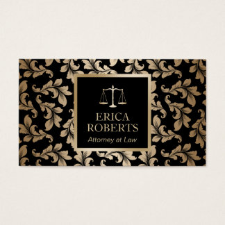 Attorney at Law Luxury Black & Gold Damask Lawyer