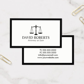 Attorney at Law Minimal Black Framed Lawyer Business Card