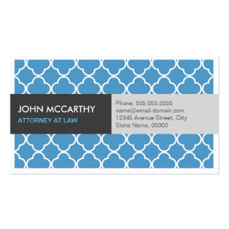 Attorney at Law - Modern Blue Quatrefoil Pack Of Standard Business Cards
