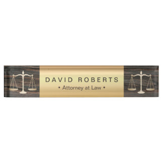 Attorney at Law Modern Gold & Wood Lawyer Nameplate