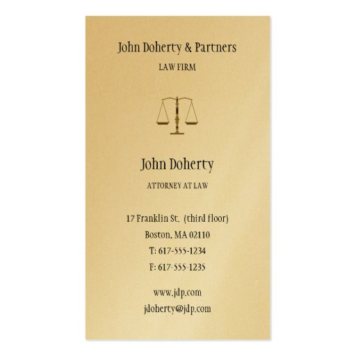 Attorney at Law - Professional Gold Business Card