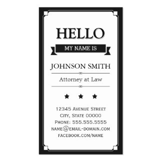 Attorney at Law - Retro Hello My Name Is Pack Of Standard Business Cards