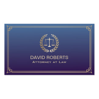 Attorney at Law Royal Blue Framed Gold Scale Pack Of Standard Business Cards