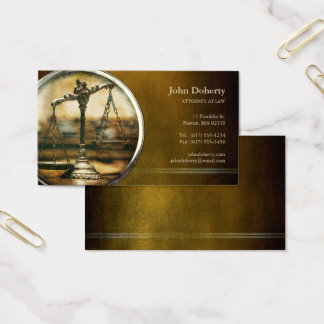 ATTORNEY AT LAW   Vintage Scales of Justice Business Card