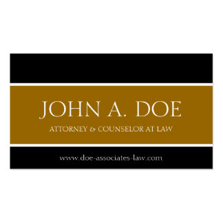Attorney Black/Rusty Gold/White Lettering Business Card Templates