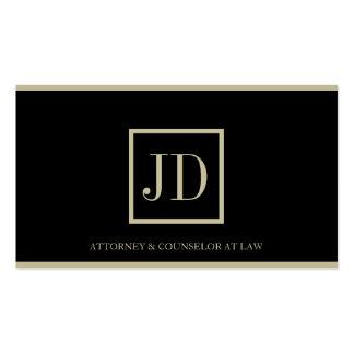 Attorney Black/Tan Square Monogram Plaque Stripes Business Cards