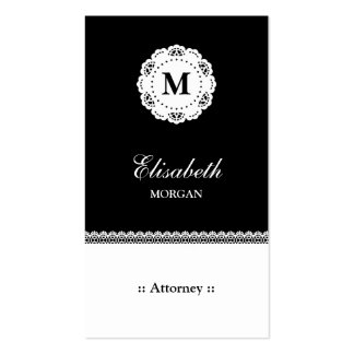 Attorney Black White Lace Monogram Pack Of Standard Business Cards