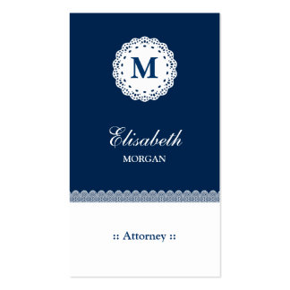 Attorney Blue White Lace Monogram Pack Of Standard Business Cards