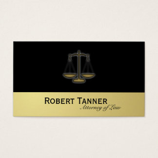 Attorney Business Card Scale Justice Black & Gold