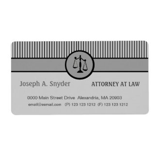 Attorney Business Striped Pattern Justice Scale Shipping Label