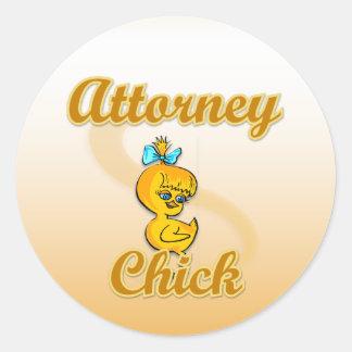 Attorney Chick Round Sticker
