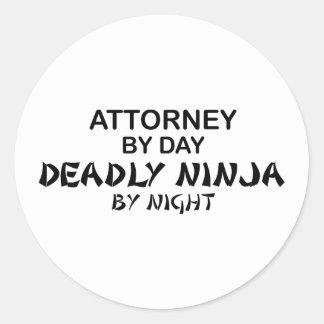 Attorney Deadly Ninja by Night Round Sticker